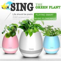 Wholesale plastic button flower - Plastic white pink blue cute music bluetooth speaker flower pot planter nursery pots for home office decoration musical speakers