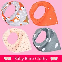 Wholesale Baby Cloths Free Shipping - 2016 new baby girls boys waterproof Pure cotton double layer bibs burp cloths Cartoons INS fox bibs Burp Cloths free shipping