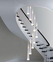 15 cone venda por atacado-1.5-3.5 M Milão Cone luzes Lustre Espiral Moderno levou lâmpadas para sraiwell sala de jantar gota de luz longa escada em espiral iluminação