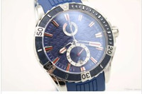 Wholesale Maxi Marine Chronograph - Hot Sale UN Quartz watch Men Blue Dial Maxi Marine Chronograph Silver Case Rubber Band 45mm Digital watch free shipping