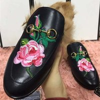 Wholesale Hot Pink Ladies Shoes - 2017 Ladies Winter Flats Shoes Leather Loafers Women Slip On Rabbit Fur Flats European Hot Sale Luxury Loafers Flower Casual Shoes