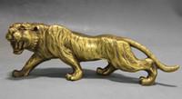 estatuas de la suerte de china al por mayor-Chino Fengshui Cobre latón Zodiaco Animal Año Lucky Tiger Statue