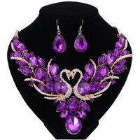 schwan halskette gesetzt großhandel-Hochzeit Braut Zubehör Schmuck Sets für Frauen Crystal Double Swan Opulente Halskette Ohrringe Vergoldet Urlaubsparty