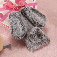 Wholesale Cover Note Rabbit - For Samsung galaxy s5 s6 s7 s8 edge plus note 3 4 5 Luxury Cute Fur furry Rabbit Ear soft case cover