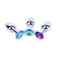 Wholesale Jeweled Butt - 50PCS Butt Toy Plug Anal Insert Metal Plated Jeweled Sexy Stopper S For Beauty Tool