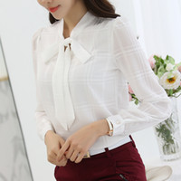Wholesale Ol Blouse Plus Size - New Spring Chiffon Shirt Korean OL Shirts Silm Long Sleeve Blouse Stand Collar Shirts Plus Size Blouses Women Clothing