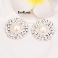 Wholesale Pearl 24mm - Double Row Pearl Buttons Flat Back Rhinestone Emellishment Used On Invitation Card 24MM 10pcs lot Silver Color