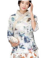 Wholesale Chinese Blouse Fashion - Shanghai Story Chinese Traditional Summer Top Vintage Women Blend Linen Blouse Shirt Chinese Blouses For Lady Hanfu Tops