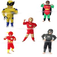 Wholesale Muscle Man Halloween Costume - 2017 children Halloween cosplay costume baby Super hero iron Man flash muscle Clothing sets cartoon Kids outfits C2454