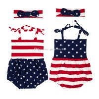 Wholesale Wholesale Organic Baby Rompers - New Girls American flag rompers cotton children American flag printing Jumpsuits+Headband 2pcs set Baby Clothing 2colors C2166