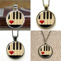 Wholesale piano pendant - 10pcs piano Keyboard Musicians Art Necklace keyring bookmark cufflink earring bracelet