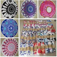 Wholesale Thick Yoga Blanket - Round Beach Towel Bohemian Mandala Blankets Thick Tassel Pringing Beach Throw Fiber Yoga Picnic Mat Table Cloth Wall Tapestries Towel Shawls