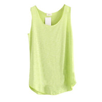 Wholesale Ladies Round Neck Vest - Wholesale- 2017 Spring Summer New Shirt Women Bamboo cotton Sleeveless Round Neck Loose Candy color T Shirt Ladies Vest Singlets