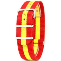 Wholesale National Stainless - Wholesale-Red Yellow 22mm Width Fabric Nylon Canvas Wrist Watch Band Strap Spain National Flag Stainless Steel Buckle Sports Mens Womens