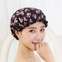 Wholesale Wholesale Shower Caps - 2017 Christmas Cute Thick Women Bathing Caps Colorful Bath Shower Hair Cover Adults Waterproof Bathing Cap Wholesale