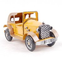 Wholesale Car Craft Models - Colored metal crafts convertible car model nostalgic retro furnishing articles gifts