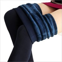 Wholesale Knitted Leggings Warm Thick - Wholesale- New 2017 Winter Women's Plus Cashmere Leggings Casual Slim Warm Leggings High Elastic Knitted Thick Velvet Leggings for Female