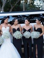 Wholesale Cheapest Bridesmaids Dresses - Custom Made Black Satin Sweetheart Sheath Bridesmaid Dresses Front Split Zipper-Up Back Floor Length Long Wedding Guest Dresses Cheapest