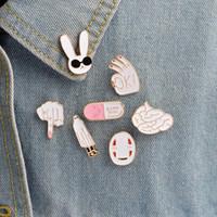 beyaz maske karikatür toptan satış-Beyaz tavşan maskesi şekil işareti beyin hapı sevimli karikatür beyaz iğneler kadın erkek ceket yaka rozeti takı hediye