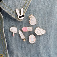 Wholesale Pin Sign - White rabbit mask figure sign brain pill cute cartoon white pins For women men jacket collar badge jewelry gift