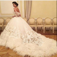 Wholesale High End Wedding Gowns - Newest Sexy Sleeveless Luxury Tulle Feather Wedding Dresses Embroidery Pearls High-end 3D-Floral Appliques Bridal Gowns 2017 with Train