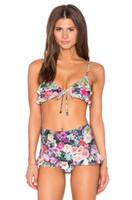 senhoras bonitas do biquini venda por atacado-2017 novas senhoras sexy dividir cintura alta lace bikini moda impressão swimsuit swimsuit sexy pacote quadril calças triangulares bela completa 1158