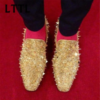 Wholesale Italian Shoes Yellow - LTTL Handmade Mens Dress Shoes Italian Leather Studded Flats Loafer Shoes Men Casual Shoes Chaussure Homme Fashion Spiked Loafer Size 37-47