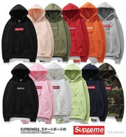 Wholesale Cheap Pink Coats Jackets - For Men and Women Supremee Box Logo Pullover Hoodies Hip-Pot Supremes Sweatshirt Supreme Red Jacket Coat With Polyester Cheap High Quality