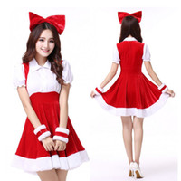 Wholesale Sexy Santa Claus Lady - 2017 Christmas Costume Party Sweetheart Miss Sexy Adult Women Halloween Santa CosPlay Dress Cute Festival Suit Mini Ladies Masquerade