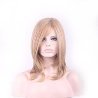 Wholesale Medium Length Blonde Wigs - Medium length blonde wig cosplay women heat resistant fiber synthetic wigs straight