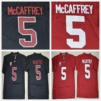 camiseta de fútbol con descuento s al por mayor-Descuento NCAA Stanford Cardinal Jerseys College 5 Christian McCaffrey Camiseta de fútbol Home Road Rojo Negro Envío rápido gratuito
