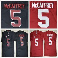 indirimli futbol forması toptan satış-NCAA Indirim Stanford Kardinal Formalar Koleji 5 Christian McCaffrey Futbol Forması Ev Yol Kırmızı Siyah Ücretsiz Hızlı Gönderi