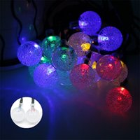 Lampe solaire 4.8M 20LEDs Crystal Ball imperméable à l'eau extérieure Led Led String Colorful Fairy Light Garden Decoration