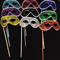 Wholesale Masquerade Mask For Stick - Handmade Party Masks On Stick Wedding Venetian Half Face Flower Mask Halloween Mask Princess Dance Party Masquerade Masks
