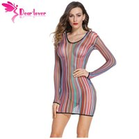 Wholesale Lenceria Sexy Mujer - Dear Love Exotic Stripe Fishnet Chemise Dress Mujer Babydolls Sleepwear Nightwear Lingerie Women lenceria sexy underwear LC22562 17410