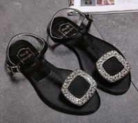 Wholesale Sandals 33 - Women Sandals 2017 Summer Fashion Shoes Girl's Bow Diamond Women Sandals Flat Black Sandals Woman Shoes Larger Size 33-42