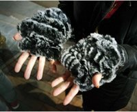 Wholesale Rex Gloves - Wholesale- new style rex rabbit fur wrist glove fur mitten warm colorful knitted gloves women winter mittens free shipping cute gloves