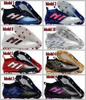 Wholesale Boot Laces 54 - 54 colors Mens Football Boots ACE 17 PureControl FG Pure Chaos Control Soccer Shoes X 16 PureChaos Soccer Cleats 17.1 MessI PureAgility