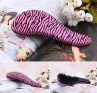 Vente en gros- NOUVEAU 2016 Magic Tangle Detangling Zebra / Leopard Peigne Douche Hair Brush Salon Styling Livraison gratuite