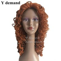 Wholesale Wig Orange Curly Long - MERIDA Cosplay Wig Women's Synthetic Hair Long Orange Curly Anime Movie Brave Factory Direct Halloween Anime Wigs