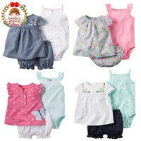 Wholesale Girl Children Knickers - Wholesale- 2016 Summer Style New Baby Girl Cotton Tee Knickers 3-pcs Bodysuit&Pant Set Children Summer Clothing Camisole Pant Set 9m