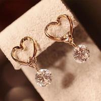 Wholesale Earring Girls Allergy - 2017 Fashion Brand Design Popular Luxury Crystal Zircon Stud Heart shape Allergy Free Earrings Elegant earrings jewelry for women lady girl