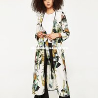 kimono japonés caliente al por mayor-Moda floral estampado kimono blusas camisa mujer dividida kimono japonés cardigan largo Verano bohemio cinturón de playa fajas blusas casuales caliente
