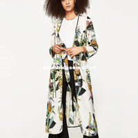 Wholesale Japanese Floral Shirts - Fashion Floral printed kimono blouses shirt women split kimono japanese long cardigan Summer bohemian beach belt sashes casual blouses 2017