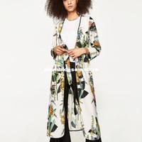Wholesale Japanese Kimono Shirt - Fashion Floral printed kimono blouses shirt women split kimono japanese long cardigan Summer bohemian beach belt sashes casual blouses 2017