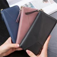 Wholesale Korean Dark Blue Dress - 2017 New Fashion Women Clutch Bags Wallets & Holders PU Long Casual Wallets Coin Purses Business Bags