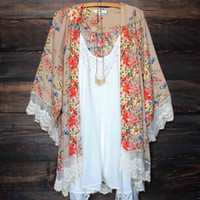 Wholesale floral covers - 2017 Kimono Women Kimono Jacket Chiffon Cardigan Long Sleeve Top Blouse Beach Cover Up Blouse Tassel Flower Pattern Shawl Kimono Cardigan