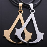 Wholesale Woman Ezio - Assassins Creed Necklace Game Altair Ezio Connor Desmond Pendant Leather Rope Jewelry For Men And Women Wholesale