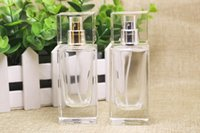 Wholesale Clear Glass Fragrance Bottles Wholesale - Most Popular 50ML Clear Glass Perfume Bottles, Fragrance parfum Atomizer, Square Empty Cosmetic Spray Bottles DHL Free