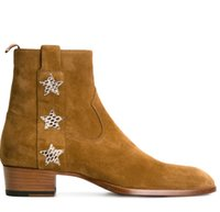 заостренные сапоги для мужчин оптовых-Большой размер Bling Пятиконечная звезда обувь из натуральной кожи ботильоны золото острым носом молния мартин сапоги на плоским каблуке модный бренд мужские сапоги